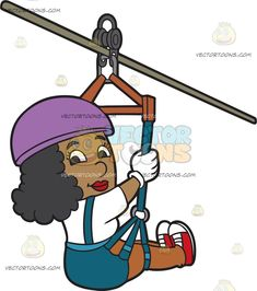 A Black Woman Having Fun Zip Lining : A black woman with curly hair wearing a purple helmet white shirt gloves dark teal shorts jumper red with white sneakers smiles while zip lining Dark Teal, Purple, Travel Clipart, Zip Lining, Vector Illustrations, White Sneakers, Black Women, Jumper, Viola