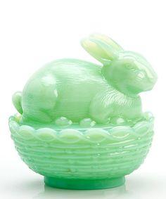 Jade Bunny & Basket Covered Dish