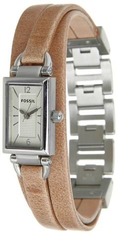 FOSSIL Women's DELANEY Rectangular Dial Three Hand Stainless Steel Watch With Leather Strap JR1370