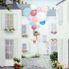 ~ Little Miss Mouse ~ My Latest acrylic painting of My Miss Mouse. Here she is enjoying her day in Paris! Lots of fanciful balloons and pretty flowers!