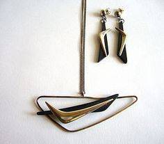 Everett Macdonald Ebony Bomerang Necklace + Earrings