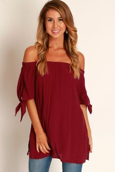 Tied Up With Love Off The Shoulder Top Wine