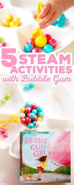 Go on a STEAM exploration with Bubble Gum, inspired by the fun new picture book, The Bubble Gum Girl! Count, pattern, introduce the value of money and more. 5 fun STEAM activities perfect for preschool Early Learning STEM STEAM Early Literacy Ch Stem Science, Preschool Science, Science For Kids, Elementary Science, Science Experiments, Steam Learning, Early Learning, Steam Activities, Preschool Activities