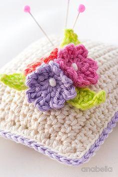 Small flowers crochet pincushion giveaway