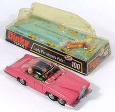 Dinky Toys 100 Lady Penelope Car in later Domed Box  pic. www.QualityDiecastToys.com
