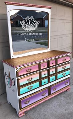 Funky furniture to liven up office or work space Funky Furniture, Refurbished Furniture, Furniture Makeover, Painted Furniture, Painted Dressers, Plywood Furniture, Furniture Design, Unicorn Bedroom Decor, Unicorn Rooms
