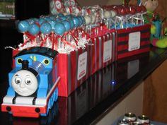 Thomas the Train Birthday Cake Pops Thomas Birthday Cakes, Thomas Birthday Parties, Thomas The Train Birthday Party, Birthday Cake Pops, Trains Birthday Party, Train Party, Birthday Fun, Birthday Ideas, Thomas Cakes