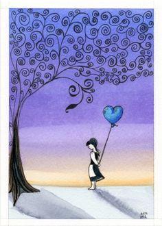 Sweetness girl heart balloon under scrollwork tree
