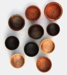 Handmade Wooden Bowls, Set of 10