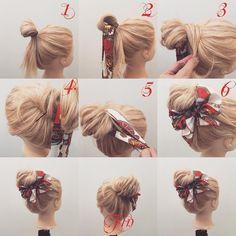 (香川県/美容師)西川 ヒロキ《ヘアアレンジ・透けカラー》さんはInstagramを利用しています:「フォロワーさんリクエスト★ スカーフ×お団子アレンジ解説✨ 1,輪っかを作ってお団子を作りす 2,輪っかの中にスカーフを通します 3,余ってる毛先をゴムに巻きつけます 4,巻きつけたらピンで留めます 5,スカーフをお団子の根元に一回巻きつけます 6,蝶々結びを作ります Fin,…」
