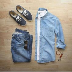 Stylish Blue Grid by @dadthreads   Follow  @stylishgridgame    Brands ⤵ Shirt: @nonationality07 Jeans: @alexmillny Shoes: @vans Sunglasses: @persol Watch: @miansai