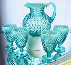 Turquoise pitcher and glasses