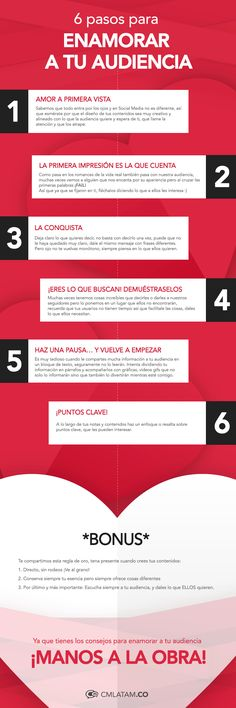 Enamora a tu audiencia en 6 pasos :) #marketing #marketingdigital #redessociales