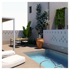 The exteriors provide their visitors with comfort, sunlight, and privacy. Interior Architecture, Interior And Exterior, Interior Design, Swimming Pool Designs, Swimming Pools, Plant Design, Common Area, Crete, Contemporary Style