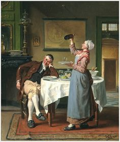 Jan David Col (Belgique, 1822-1900) «Méfiance» 1884 !