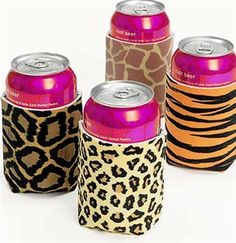 animal print can coolers