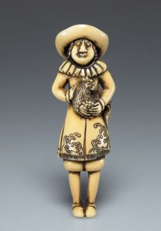Dutchman with rooster.  Ivory.  18th century. © Linden-Museum Stuttgart