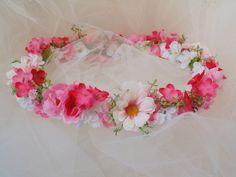 Pretty In Pink Spring Garden Flower Crown, Wedding/Bridesmaid Crown, Renaissance Fair Tiara, Flower Girl Fairy Crown, Ballet Tiara by BunniesMadeOfBread on Etsy