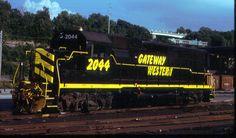 GWWR 2044 sits alone   Description:    Photo Date:  8/27/1993  Location:  Kansas City, MO   Author:  John Benson  Categories:    Locomotives:  GWWR 2044(GP38)