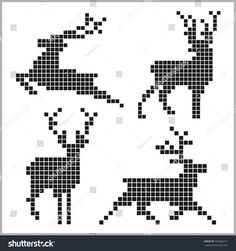 Pixel silhouettes of deers on white background – knitting charts Knitting Patterns Boys, Knitting Charts, Loom Patterns, Knitted Christmas Stockings, Christmas Knitting, Cross Stitch Heart, Cross Stitch Animals, Cross Stitch Embroidery, Cross Stitch Patterns