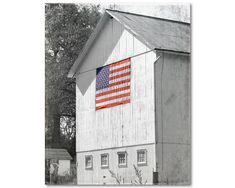 BARN, AMERICAN FLAG, Photography, Landscape, Architecture, Farm, Patriotic, Fine Art