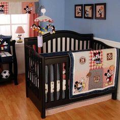 Disney Mickey Mouse Baby Boy Football Nursery 5pc Baseball Crib Bedding Red Set