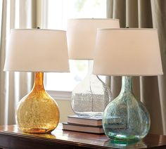 Pottery Barn Eva Colored Glass Table Lamp - The blue one on the right
