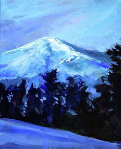 Mount Bachelor Snow, Oregon Landscape Painting by Nancy Merkle