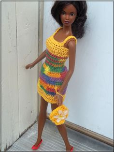 Barbie Doll Clothes Crochet Yellow Dress by BarbieBoutiqueBasics, $7.50