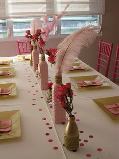 Pink, gold and glitter Birthday Party table!  See more party ideas at CatchMyParty.com!