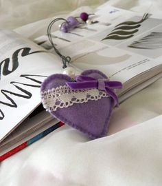 Felt bookmark with a lilac heart / felt Heart /felt toy/ gift for child / Spring /Mother's Day /Ready to Ship. via Etsy.