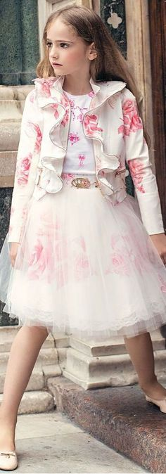 LOVE! JUNONA Ivory & Pink Designer Shirt Jacket and Skirt with Tulle from the Spring Summer 2018 Collection. Love this ivory lace dress decorated with beautiful red floral appliqué with pearl centres. Perfect vintage style party dress for a little princess at any special occasion or wedding. Pretty Style for for stylish kid, tween and teen girls. #kidsfashion #fashionkids #girlsdresses #childrensclothing #girlsclothes #girlsclothing #girlsfashion #cute #girl #kids #fashion #flowergirl