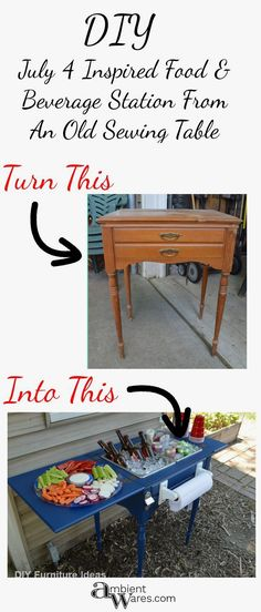 upcycled furniture DIY ~ Upcycled Repurposed Sewing Table To Drink Station ~ Ambient Wares Old Sewing Machine Table, Old Sewing Tables, Old Sewing Machines, Diy Sewing Table, My Furniture, Repurposed Furniture, Furniture Projects, Furniture Makeover, Furniture Design