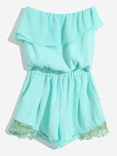Mint ruffled jumpsuit