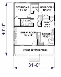 i like the open floor plan but it would need another bedroom and a basement cornerstone pinterest bedroom floor plans small modern house plans and - 2 Bedroom House Plans