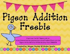 This is a perfect printable to use with students who are beginning to learn about addition.  They are able to easily see the number on the number cubes and add them together.  This printable is part of my Mo Willems packet found here: https://www.teacherspayteachers.com/Product/Dont-Let-the-Pigeon-A-Mo-Willems-MEGA-Activity-Pack-2866878 It includes math, reading, & writing activities!!!