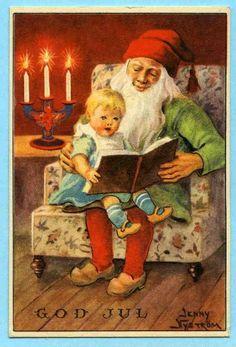 Annons på Tradera: JN - Tomten läser för barn - 1941