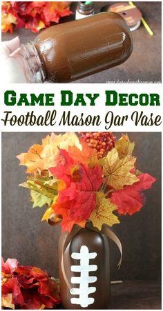 DIY Football Mason Jar Vase for your game day table!  #ScoreAtCVS #ad