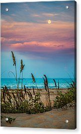 The Moon And The Sunset At South Padre Island Acrylic Print by Micah Goff