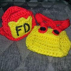 FREE crochet newborn firefighter set http://jillzgemz.blogspot.com/2014/05/fire-fighter-baby-set.html?m=1