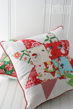 Patchwork Quilted Star Pillows on http://polkadotchair.com