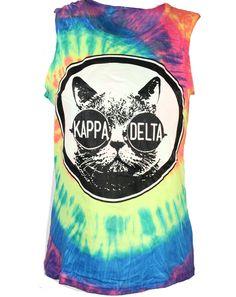 Kappa Delta Cat Tie Dye Tank by Adam Block Design   Custom Greek Apparel & Sorority Clothes   www.adamblockdesign.com