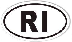 RI Rhode Island Oval Sticker