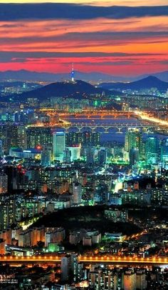 Seoul City - The colors in this photo are so dynamic and complex. The warm and cool colors looking like they