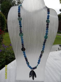 Blue Mother of Pearl shell marquise necklace by therealmgemsdesign,   £74.59