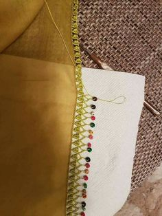 This Pin was discovered by İsm Saree Tassels, Moda Emo, Piercings, Hand Work Embroidery, Crochet Borders, Fashion Sewing, Baby Booties, Blouse Designs, Diy And Crafts