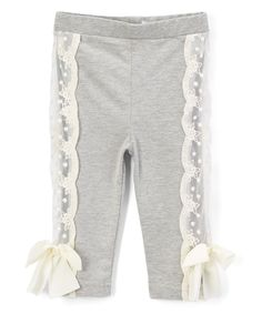 Another great find on #zulily! Frills du Jour Gray Lace Panel Leggings - Infant, Toddler & Girls by Frills du Jour #zulilyfinds