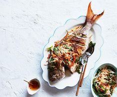 A Vietnamese-style recipe for a whole barbecued snapper topped with nuoc cham (a dipping sauce of fish sauce, garlic and chilli) and green papaya salad, by Amy Hamilton of Liberté in Albany, Western Australia.