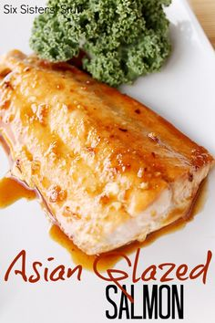Asian Glazed Salmon from SixSistersStuff.com.  Even for someone who isn't a seafood fan, this salmon is AMAZING! #salmon #recipes #dinner