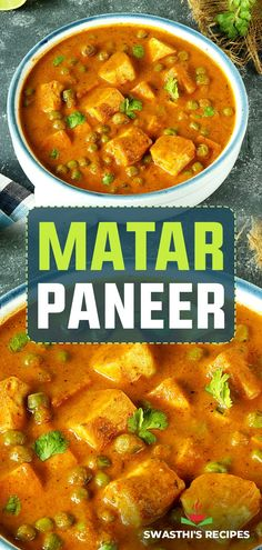 Matar paneer is one of the most popular paneer dishes made with green peas, Indian cheese, onions, tomatoes, spices and herbs. This restaurant style North Indian peas paneer curry is creamy, delicious and super flavorful. Serve matar paneer over steamed basmati rice, any flavored rice, Butter naan, roti or flatbreads of your choice. Paneer Recipes, Curry Recipes, Vegetable Recipes, Indian Food Recipes, Vegetarian Recipes, Cooking Recipes, Healthy Recipes, Quick Dinner Recipes, Simple Recipes